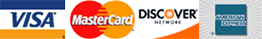 We accept Visa, Mastercard, Discover, and American Express credit cards!